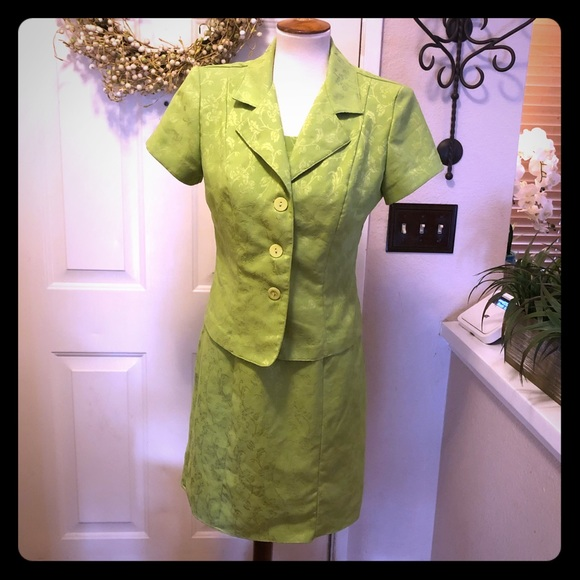 Dawn Joy Dresses & Skirts - Vintage Dawn Joy Lime Green Dress / Jacket Set